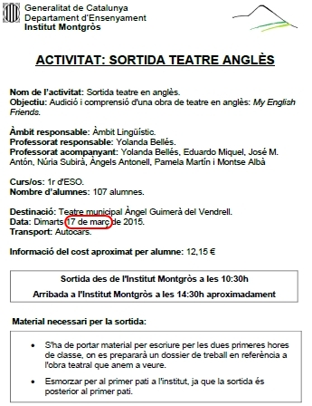 Sortida teatre 1r ESO